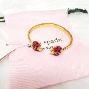 Kate Spade Gold Ladybug Red Bug Dust Bag Bracelet